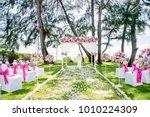 wedding venue on the beach ...   Shutterstock . vector #1010224309