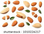 almonds isolated on white... | Shutterstock . vector #1010226217