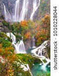 beautiful waterfall autumn in ... | Shutterstock . vector #1010228044