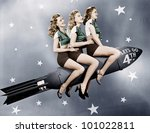 three women sitting on a rocket | Shutterstock . vector #101022811