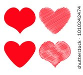 red heart icon set. different...   Shutterstock .eps vector #1010242474