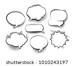 set of comic speech bubbles.... | Shutterstock .eps vector #1010243197