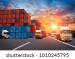 logistics and transportation of ... | Shutterstock . vector #1010245795