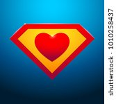 super heart on blue background | Shutterstock .eps vector #1010258437