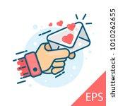 love letter heart floating mail ... | Shutterstock .eps vector #1010262655