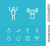 fitness icons set with dumbbell ...