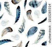 watercolor boho seamless... | Shutterstock . vector #1010285314