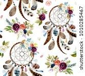 seamless watercolor ethnic boho ...   Shutterstock . vector #1010285467