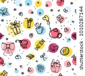 seamless pattern with sweets ... | Shutterstock . vector #1010287144