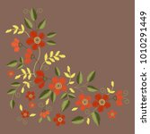 floral embroidery set with red... | Shutterstock .eps vector #1010291449