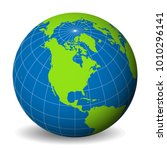 earth globe with green world... | Shutterstock .eps vector #1010296141