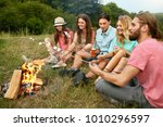 happy friends having fun on... | Shutterstock . vector #1010296597