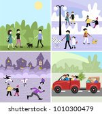 people walk in the park. set | Shutterstock .eps vector #1010300479