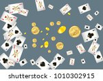 casino playing cards and money... | Shutterstock .eps vector #1010302915
