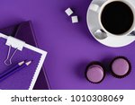 top view of workspace with... | Shutterstock . vector #1010308069