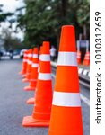 orange traffic cones in the... | Shutterstock . vector #1010312659