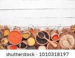 set of groats and grains.... | Shutterstock . vector #1010318197