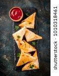 asian food. vegetarian samsa ... | Shutterstock . vector #1010318461
