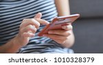 close up of woman using...   Shutterstock . vector #1010328379