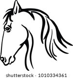 Stock vector line drawing of a horse s head on a white background 1010334361