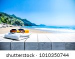 white beach towel with... | Shutterstock . vector #1010350744