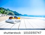 white beach towel with... | Shutterstock . vector #1010350747