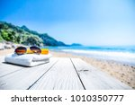 white beach towel with... | Shutterstock . vector #1010350777