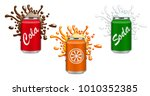 set of soft drinks in aluminum... | Shutterstock .eps vector #1010352385