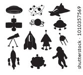 spaceships silhouette on a... | Shutterstock .eps vector #1010357569