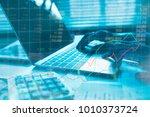 double exposure business people ... | Shutterstock . vector #1010373724