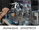 preparing espresso with... | Shutterstock . vector #1010378215