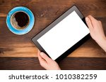 business woman holding tablet... | Shutterstock . vector #1010382259