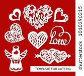 set of decoration for valentine'... | Shutterstock .eps vector #1010390215