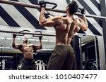guy bodybuilder execute... | Shutterstock . vector #1010407477
