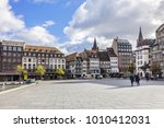 Small photo of STRASBOURG, FRANCE - SEPTEMBER 5, 2017: View of Place Kleber. Place Kleber - largest square at the center of the city of Strasbourg was named after General Jean-Baptiste Kleber. World Heritage site.