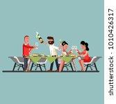 friends celebrating new year | Shutterstock .eps vector #1010426317