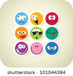 vector color face icons | Shutterstock .eps vector #101044384