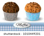 set of muffins with chocolate...   Shutterstock .eps vector #1010449201