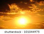 Big Sun. Bright Sunset Photo