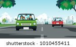 the family drove along the road ... | Shutterstock .eps vector #1010455411