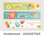 happy easter horizontal banners ... | Shutterstock .eps vector #1010457565