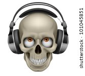 Human skull with eye and music headphones. Illustration on white - stock vector