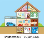 house in a cut. vector | Shutterstock .eps vector #101046331