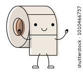 kawaii cartoon toilet paper... | Shutterstock .eps vector #1010466757