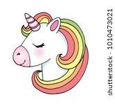 cute cartoon unicorn head emoji.... | Shutterstock .eps vector #1010473021