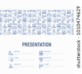 presentation concept with thin... | Shutterstock .eps vector #1010474629