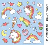 cute cartoon unicorn sticker or ... | Shutterstock .eps vector #1010475004