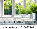desk of free space with green... | Shutterstock . vector #1010479441