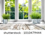desk of free space with green... | Shutterstock . vector #1010479444