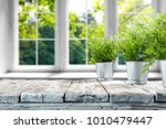 desk of free space with green... | Shutterstock . vector #1010479447